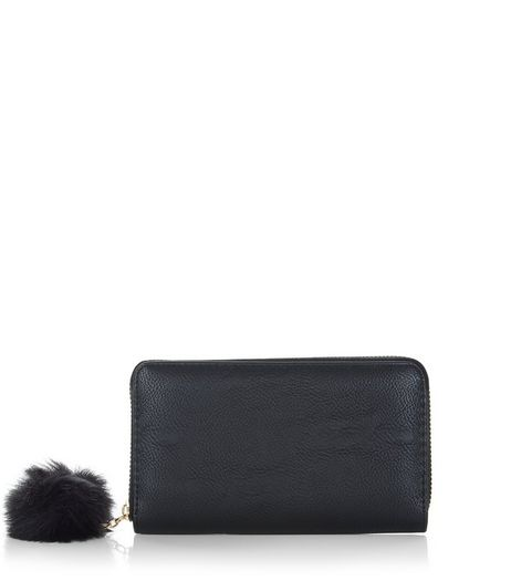 Black Pom Pom Zip Around Purse  | New Look
