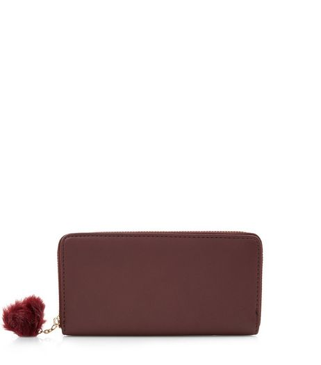 Dark Red Pom Pom Zip Around Purse | New Look