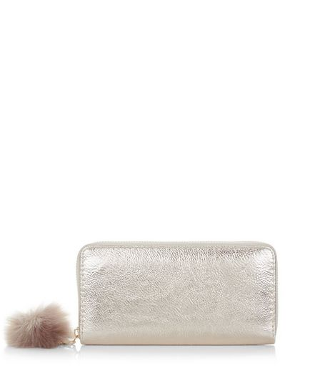 Gold Pom Pom Zip Around Purse  | New Look