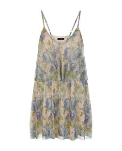 Blue Floral Print Layered V Neck Dress | New Look