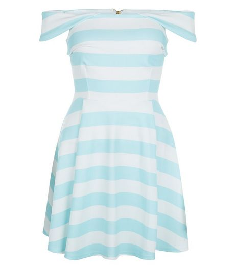 Blue Stripe Bardot Neck Skater Dress  | New Look