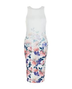 White Floral Print Panel Bodycon Midi Dress  | New Look