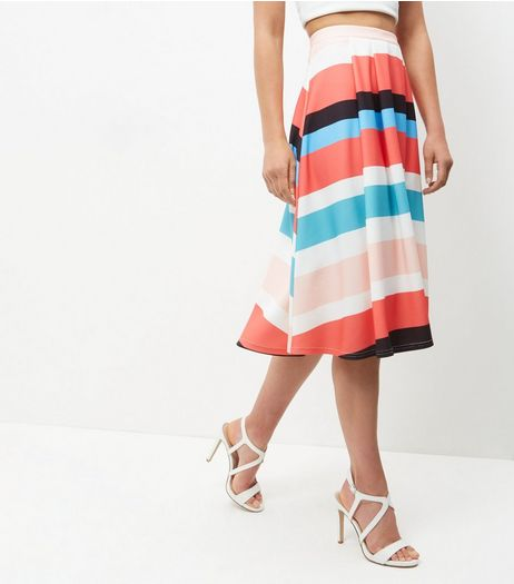 Pink Stripe Skater Skirt  | New Look