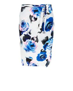 White Floral Print Tie Waist Midi Skirt  | New Look
