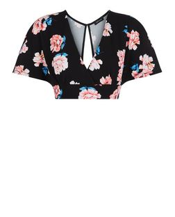 Black Floral Print Wide Sleeve Crop Top | New Look