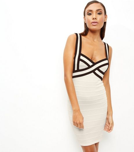 White Contrast Bandage Bodycon Dress | New Look