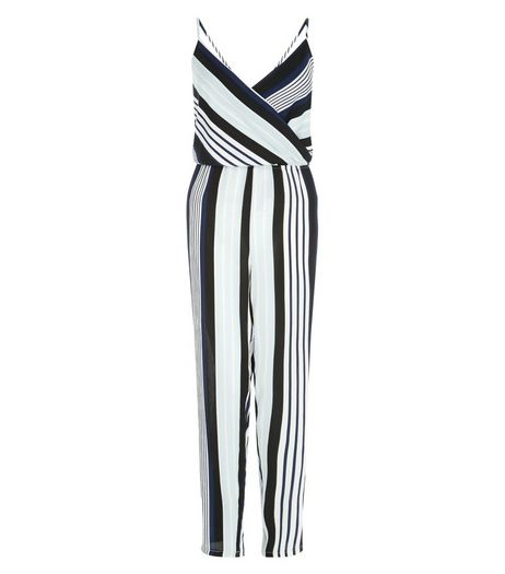 Cameo Rose Blue Stripe Wrap Jumpsuit | New Look