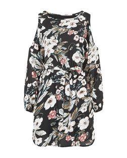 Cameo Rose Black Floral Print Cold Shoulder Dress | New Look