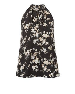 Cameo Rose Black Floral Print Pussybow Blouse | New Look