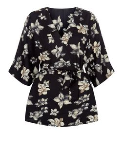 CR Cameo Rose Black Floral Print Wrap Top | New Look