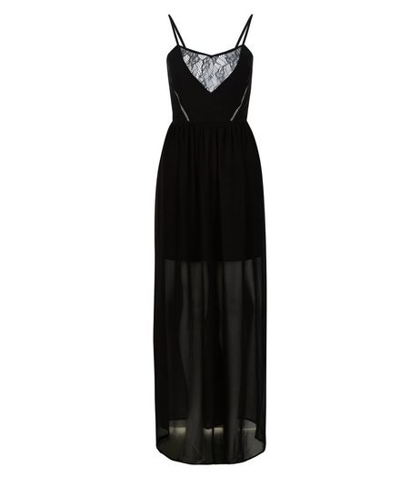Black Lace Panel V Neck Maxi Dress  | New Look