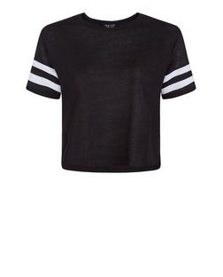 Teens Black Stripe Sleeve Top | New Look