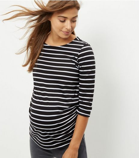 Maternity Black Stripe 3/4 Sleeve Top | New Look
