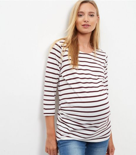 Maternity Red Stripe 3/4 Sleeve Top | New Look