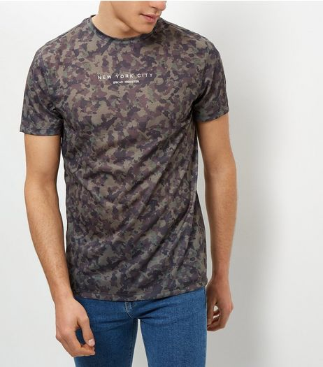 Khaki New York City Camo Print T-Shirt  | New Look