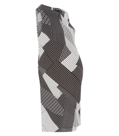 Maternity White Abstract Stripe Tunic Dress | New Look