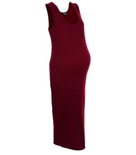Maternity Burgundy Ribbed Sleeveless Dress | New Look
