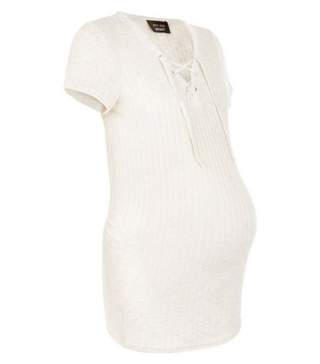 Maternity Cream Ribbed Lace up Top | New Look