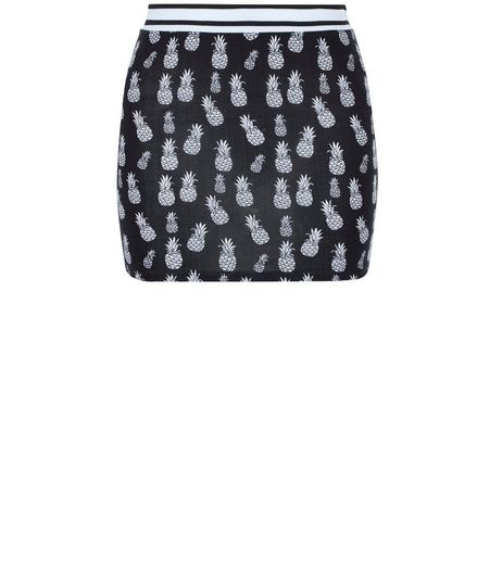 Girls Black Pineapple Print Tube Skirt | New Look
