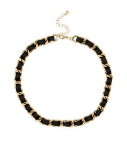 Black Ribbon Chain Necklace | New Look
