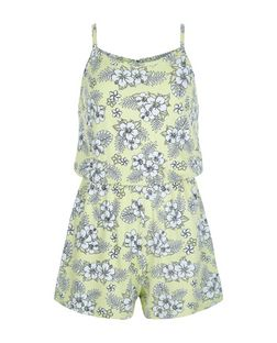 Girls Yellow Tropical Print Playsuit | New Look