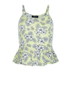 Girls Yellow Tropical Print Peplum Cami  | New Look