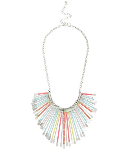 Multicoloured Thread Spike Necklace | New Look