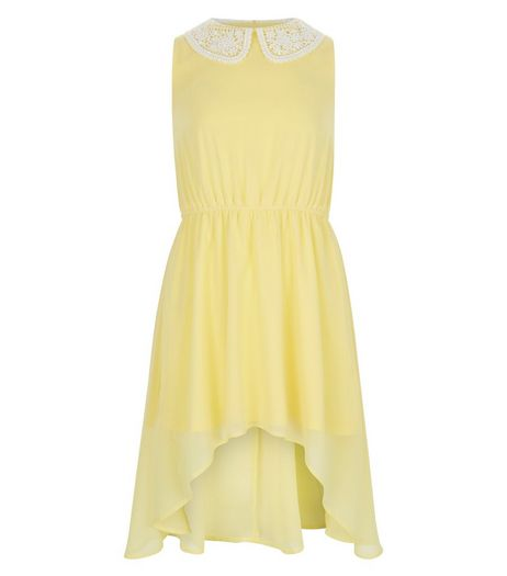 Girls Yellow Crochet Collar Dip Hem Dress | New Look