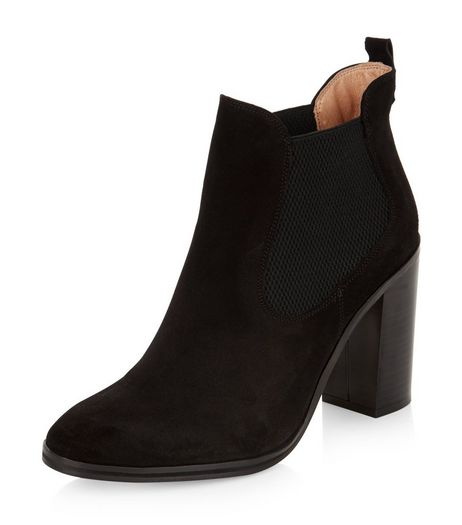 Black Suede Chelsea Block Heel Boots | New Look