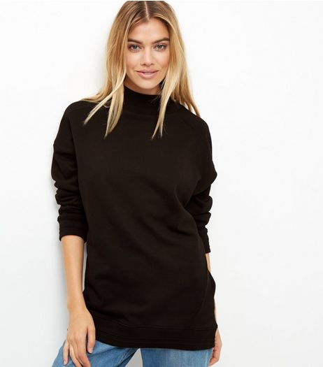 Black Turtle Neck Longline Sweater  | New Look