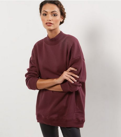 Burgundy Funnel Neck Longline Sweater  | New Look