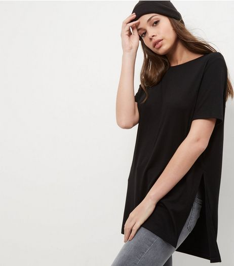 Black Split Side Longline T-Shirt | New Look