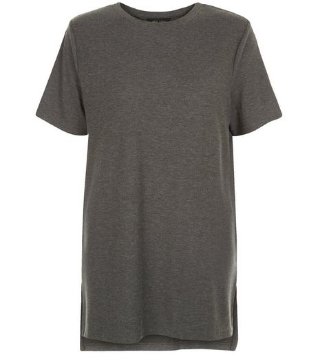 Dark Grey Split Side Longline T-Shirt  | New Look
