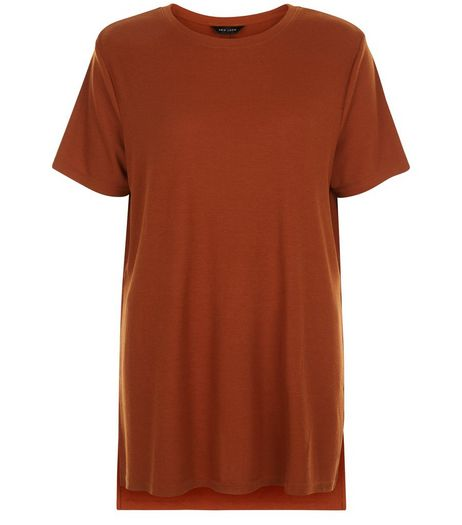 Rust Split Side Longline T-Shirt  | New Look