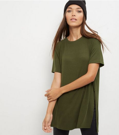 Olive Green Split Side Longline T-Shirt | New Look