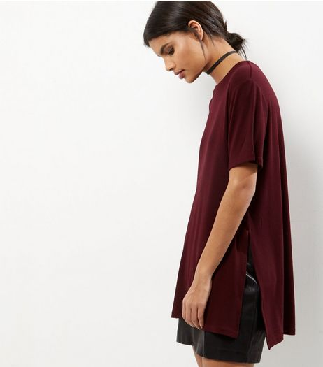 Burgundy Split Side Longline T-Shirt  | New Look