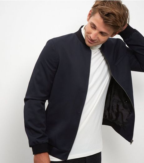 Navy Tailored Bomber Jacket  | New Look