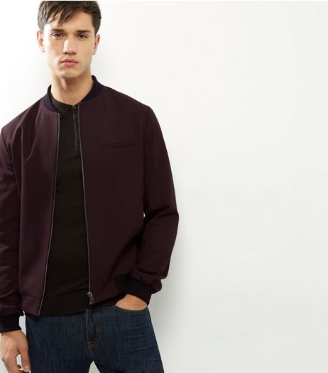 Burgundy Tailored Bomber Jacket | New Look