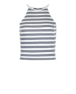 Teens Blue Double Stripe High Neck Cami | New Look