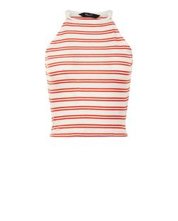 Teens Red Double Stripe High Neck Cami | New Look