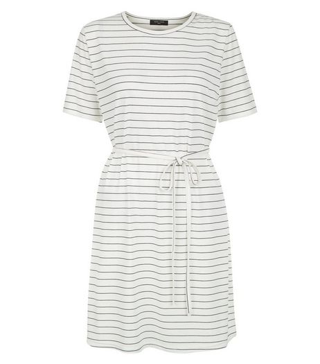 Tall White Stripe Belted Tunic Dress | New Look