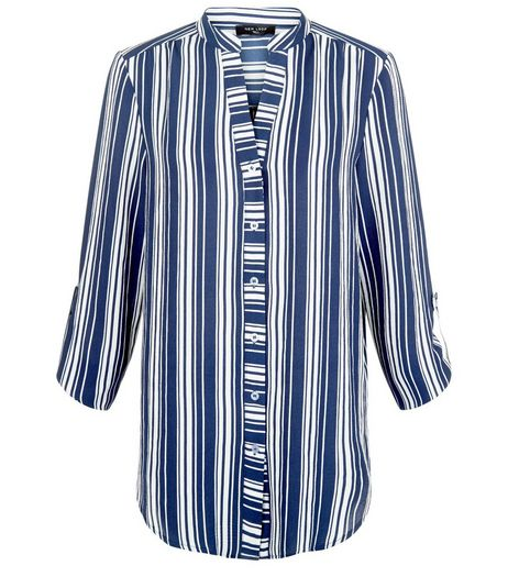 Tall Blue Stripe Grandad Collor Shirt | New Look