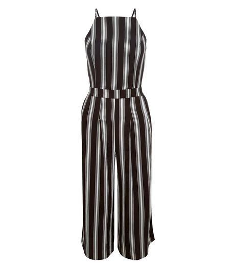 Tall Black Stripe Culotte Jumpsuit | New Look