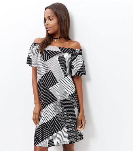 Black Abstract Stripe Bardot Neck Slip Dress  | New Look