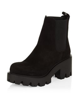 Black Premium Suede Chunky Cleated Chelsea Boots  | New Look