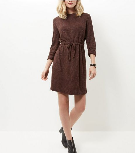 Rust Ribbed Drawstring Waist Roll Sleeve Dress  | New Look