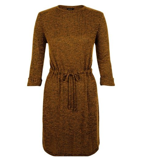 Olive Green Ribbed Drawstring Waist Roll Sleeve Dress | New Look