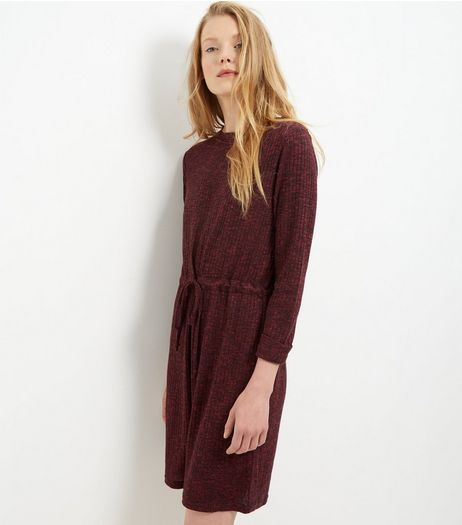Burgundy Ribbed Drawstring Waist Roll Sleeve Dress  | New Look