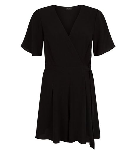 Tall Black Wide Sleeve Wrap Playsuit | New Look