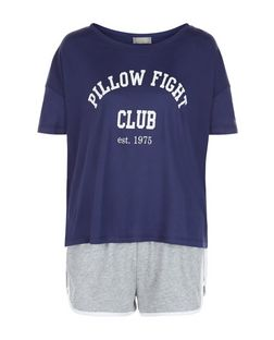 Navy Pillow Fight Print Pyjama Set | New Look